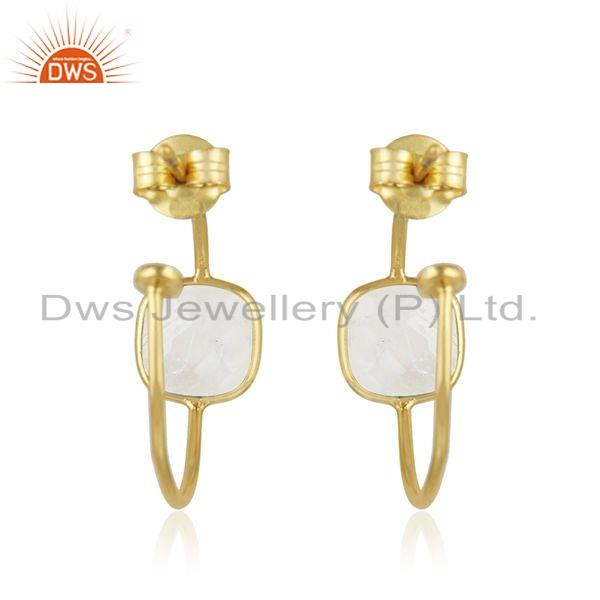 Suppliers Gold Plated 925 Silver Rainbow Moonstone Gemstone Hoop Earring Jewelry