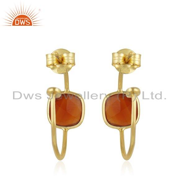 Suppliers Gold Plated Designer 925 Silver Red Onyx Gemstone Hoop Earring Jewelry