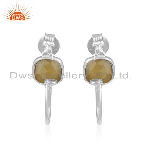 Suppliers Yellow Chalcedony Sterling Fine Silver Hoop Earrings Manufacturer