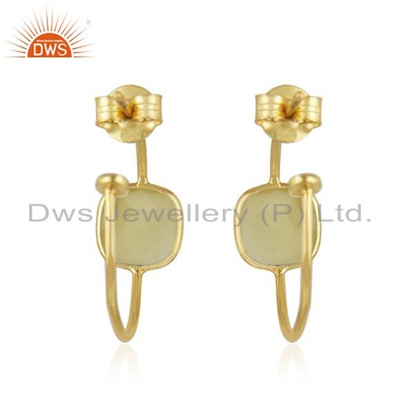 Suppliers Yellow Chalcedony Gemstone Gold Plated 925 Silver Hoop Earring Jewelry