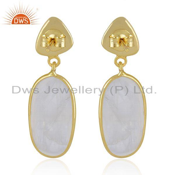 Suppliers Rainbow Moonstone Handmade Gold Plated 925 Sterling Silver Earrings