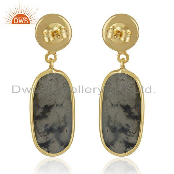 Suppliers Labradorite Gemstone Yellow Gold Plated 925 Sterling Silver Earrings