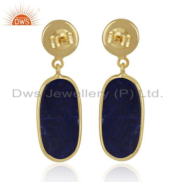 Suppliers Lapis Lazuli Gemstone Handmade Yellow Gold Plated 925 Silver Earrings