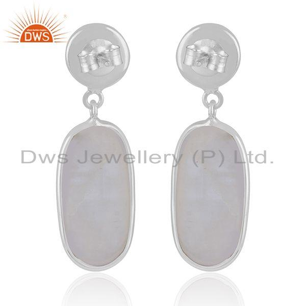 Manufacturer of Handmade Fine Sterling Silver Rainbow Moonstone Earrings Wholesaler in India