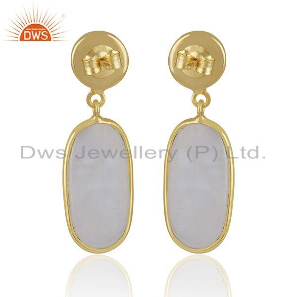 Suppliers Handmade 925 Sterling Silver Gold Plated Rainbow Moonstone Earrings