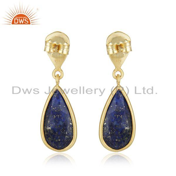 Suppliers New Lapis Lazuli Gemstone Handmade Gold Plated Silver Earings Jewelry