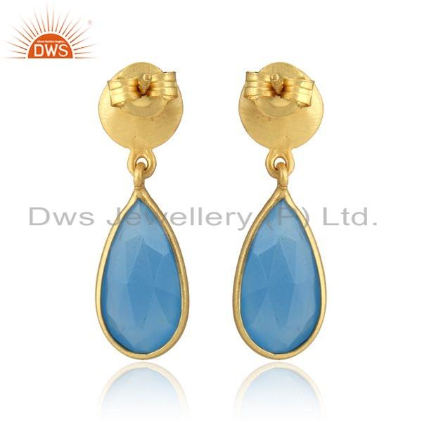 Suppliers Gold Plated Designer Silver Blue Chalcedony Gemstone Dangle Earrings