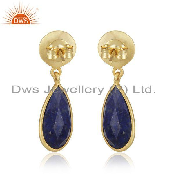 Suppliers 18k Gold Plated 925 Silver Lapis Lazuli Gemstone Earrings Jewelry