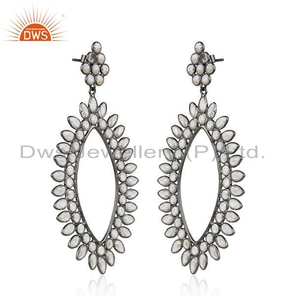 Suppliers Antique Rhodium Plated Silver White Zircon Gemstone Womens Earrings