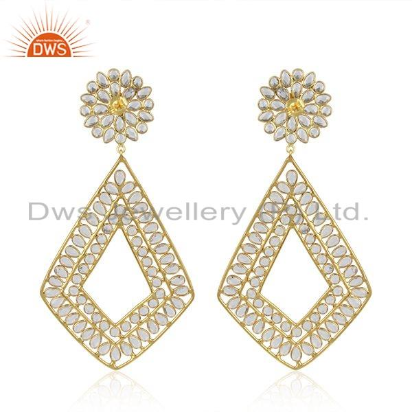 Suppliers Womens Designer Gold Plated Silver CZ Gemstone Earrings Jewelry