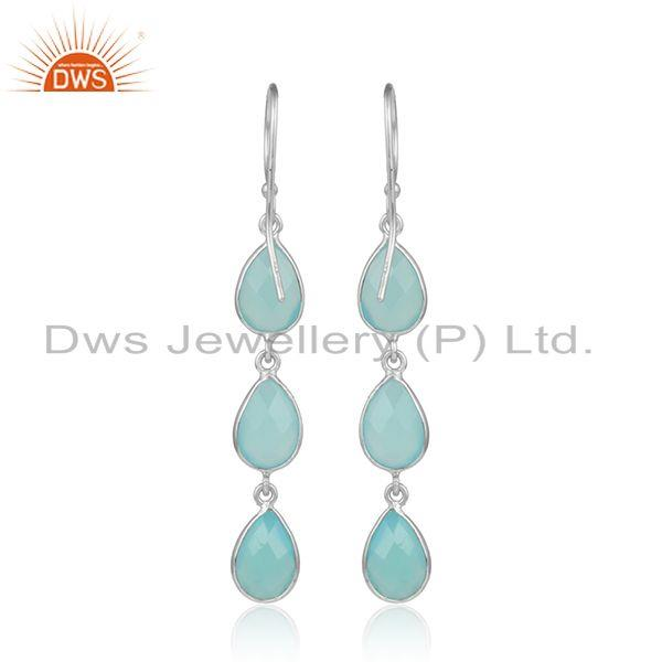 Designer of Aqua chalcedony gemstone designer sterling fine silver earrings