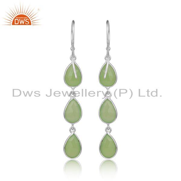 Designer of Prehnite chalcedony gemstone sterling fine silver dangle earring
