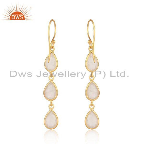 Designer of Handmade dangle earring in yellow gold on silver with rose quartz