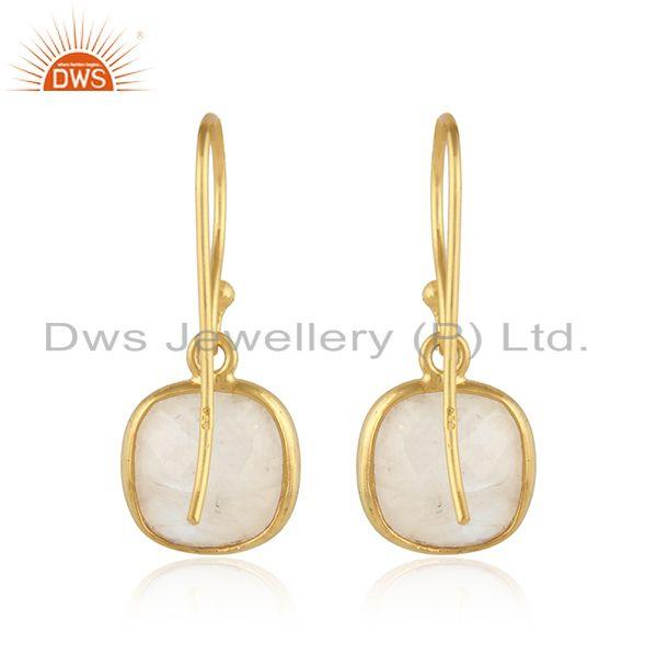 Designer of Rainbow moonstone gemstone gold plated 925 silver hook earring