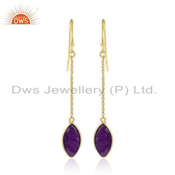 Designer of Gold plated designer 925 silver aventurine gemstone chain earring