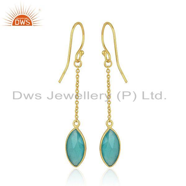 Suppliers Aqua Chalcedony Gemstone 925 Silver Gold Plated Silver Chain Earrings