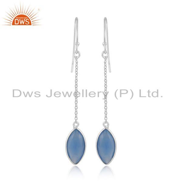 Designer of Blue chalcedony gemstone fine sterling silver chain earrings
