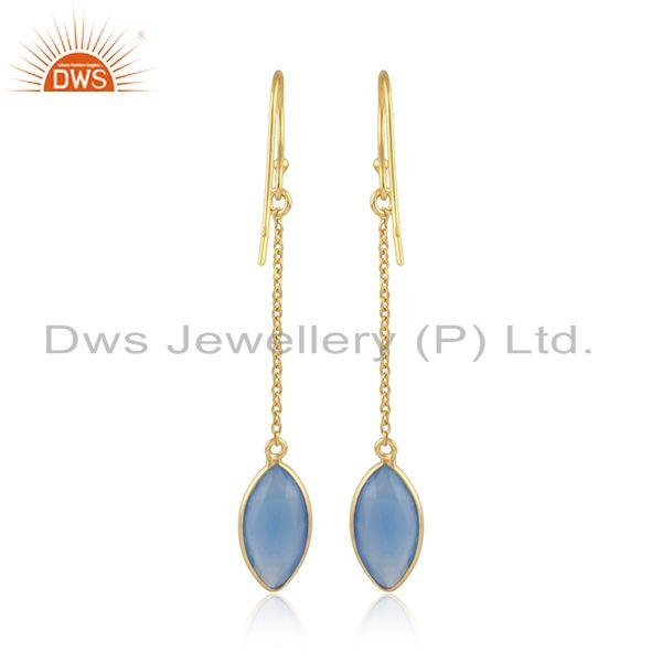 Designer of Gold plated 925 silver blue chalcedony gemstone chain earrings