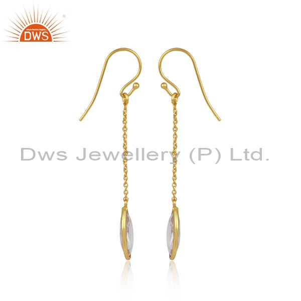 Designer of Crystal quartz gemstone designer gold plated silver chain earring