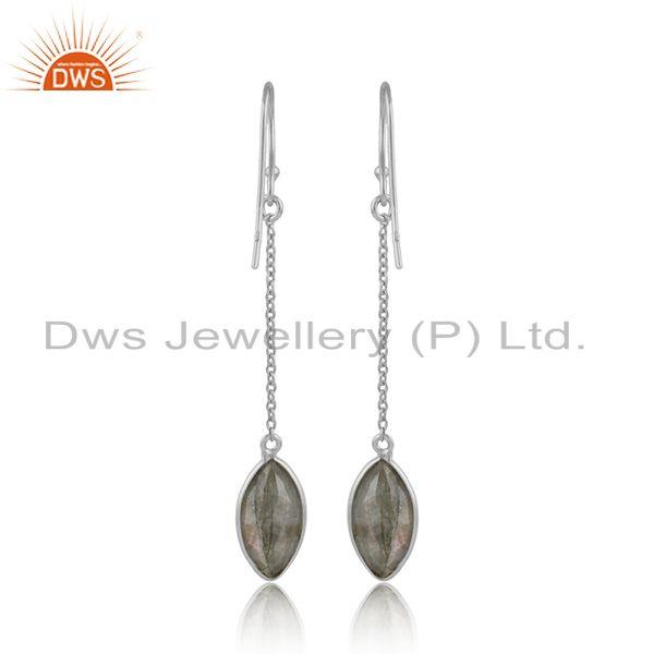 Designer of Labradorite gemstone designer fine silver womens chain earrings