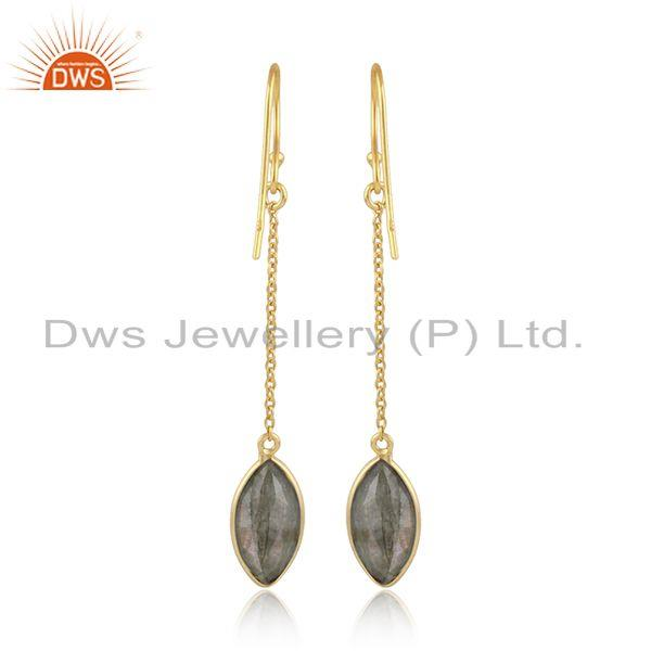 Designer of Labradorite gemstone designer silver 18k gold plated earrings