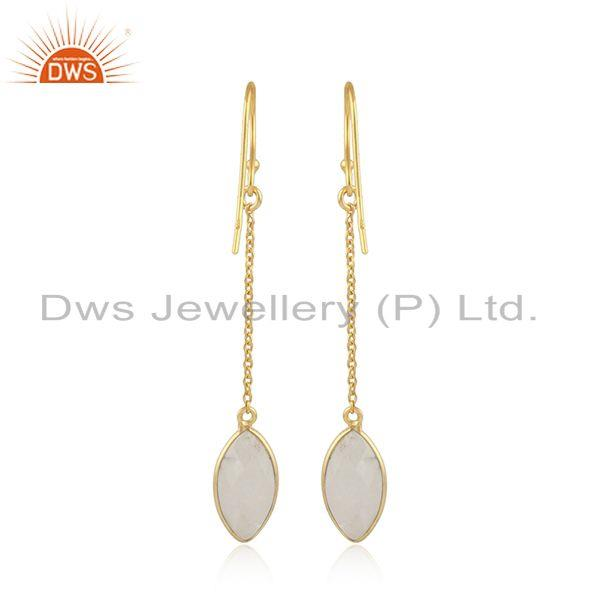 Designer of Rainbow moonstone gemstone womens silver gold plated earrings