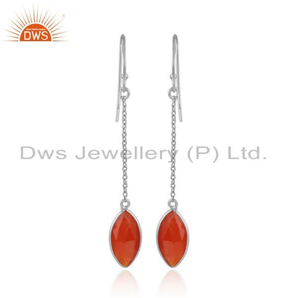 Designer of Red onyx gemstone designer fine sterling silver girls earrings