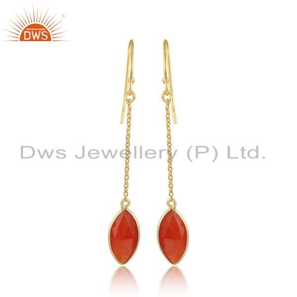 Designer of Red onyx gemstone designer 18k gold plated silver chain earrings