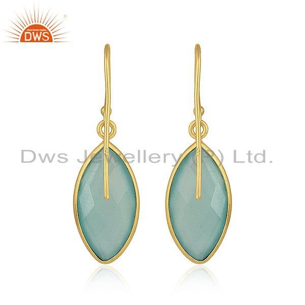 Suppliers Marquise Aqua Chalcedony Gemstone Gold Plated Silver Hook Earrings