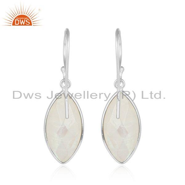 Designer of Rainbow moonstone designer fine sterling silver womens earrings