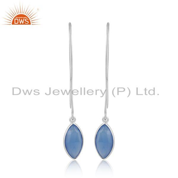 Designer of Blue chalcedony gemstone designer sterling silver hook earrings