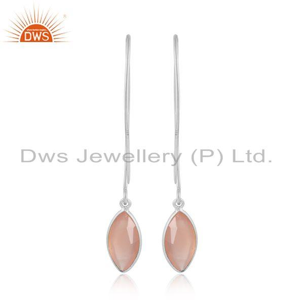 Designer of Rose chalcedony gemstone girls 925 sterling silver earrings