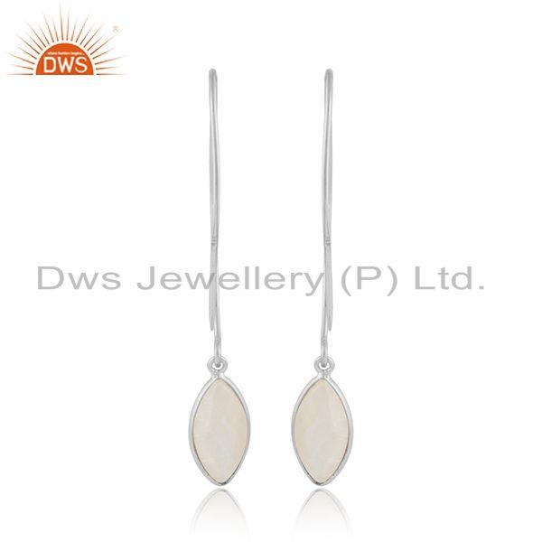 Designer of Rainbow moonstone designer 925 sterling fine silver hook earrings