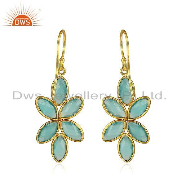 Suppliers Floral Designer Gold Plated 925 Silver Aqua Chalcedony Gemstone Rings