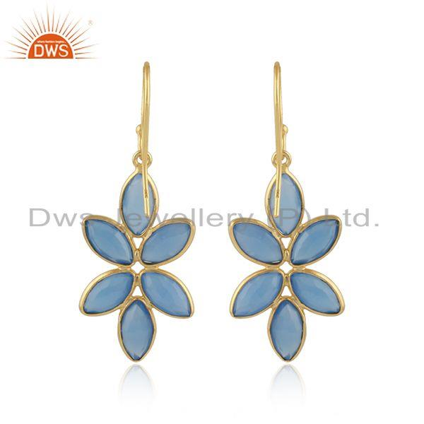 Designer of Foral designer gold plated 925 silver blue chalcedony earrings