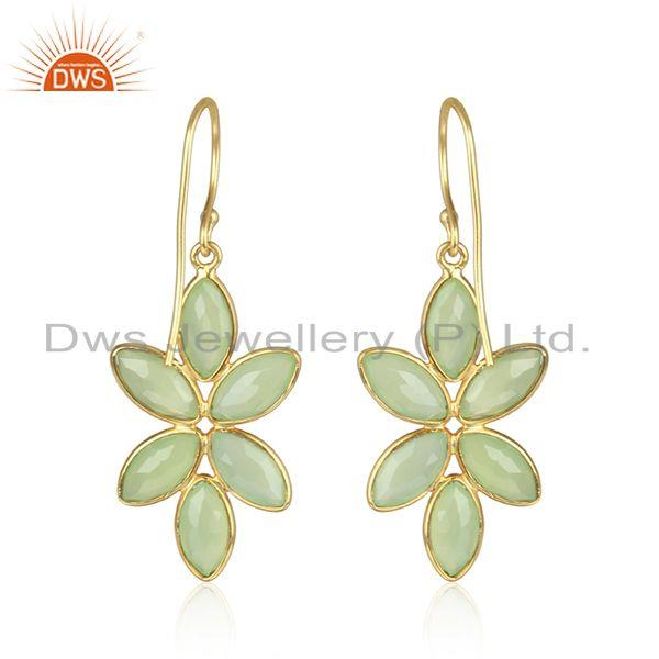 Designer of Prehnite chalcedony gemstone designer gold plated silver earrings