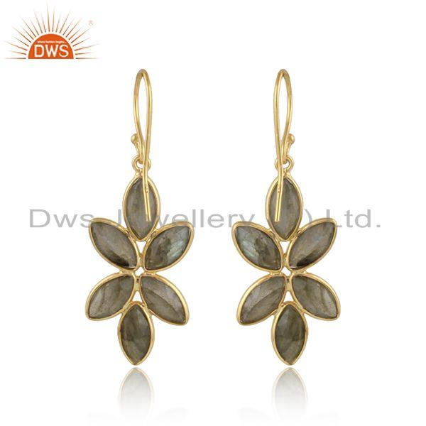 Designer of Labradorite gemstone womens 925 silver gold plated earrings