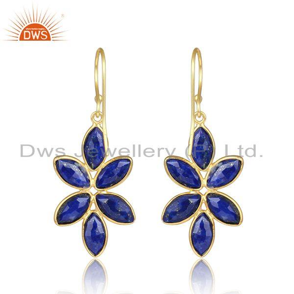 Designer of Lapis lazuli gemstone gold plated girl gold plated silver earring