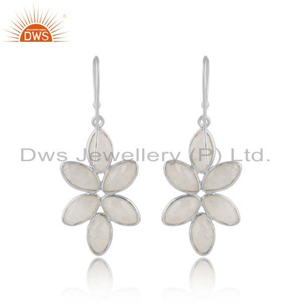 Designer of Rainbow moonstone gemstone floral fine sterling silver earrings