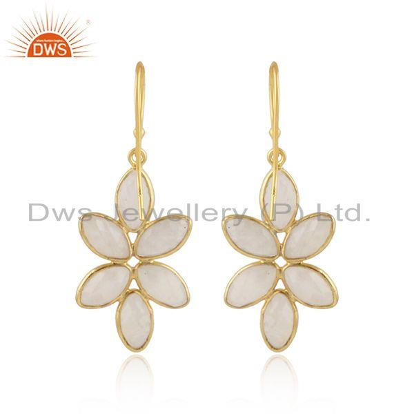 Designer of Flower 925 silver gold plated silver rainbow moonstone earrings