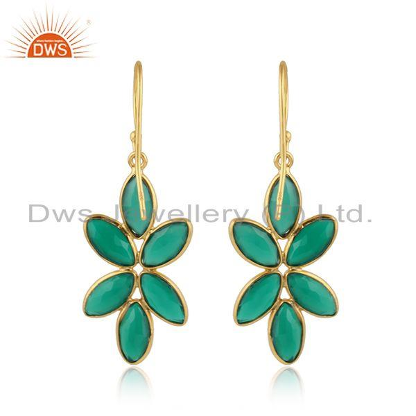 Designer of Green onyx gemstone womens gold plated 925 silver earring jewelry