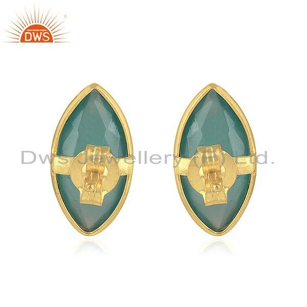 Suppliers Aqua Chalcedony Gemstone Womens Gold Plated Silver Stud Earrings