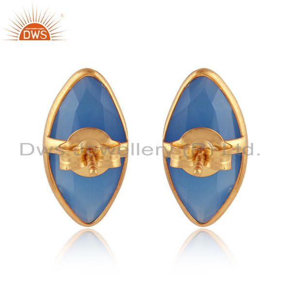 Designer of Marquise shape blue chalcedony gemstone gold over silver earrings