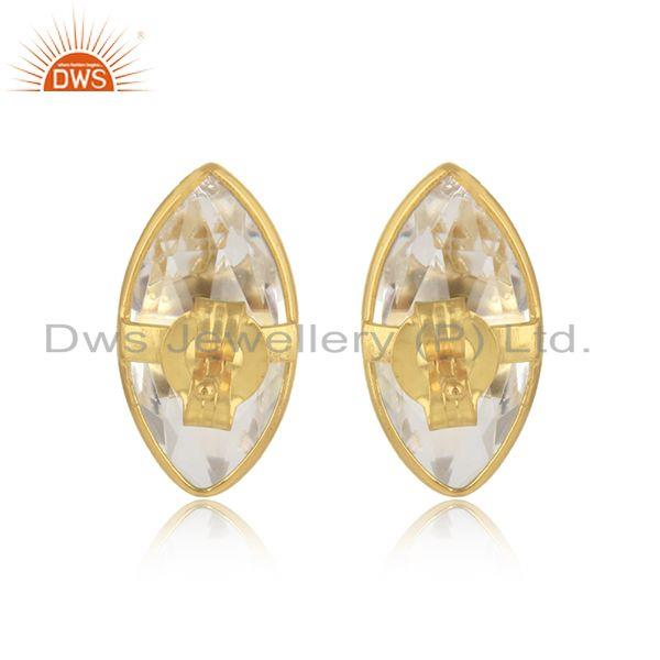 Designer of Crystal quartz gemstone gold plated silver designer stud earrings