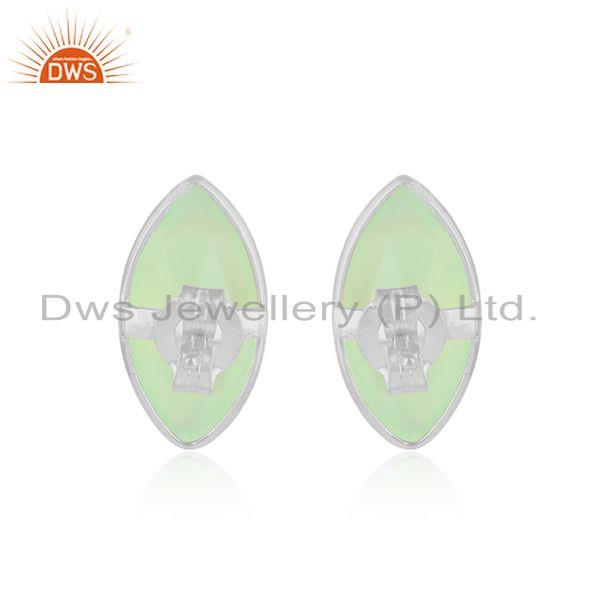 Designer of Prehnite chalcedony gemstone designer fine silver stud earrings