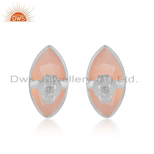 Designer of Marquise rose chalcedony gemstone 925 fine silver stud earrings