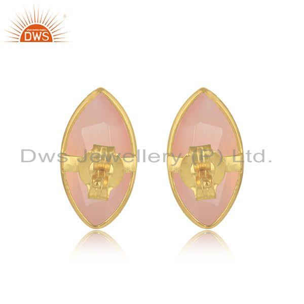 Designer of Rose chalcedony gemstone 18k gold plated silver stud earrings