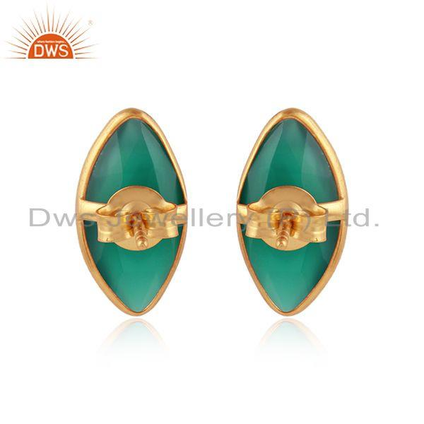 Designer of Green onyx gemstone designer 925 silver gold plated stud earrings