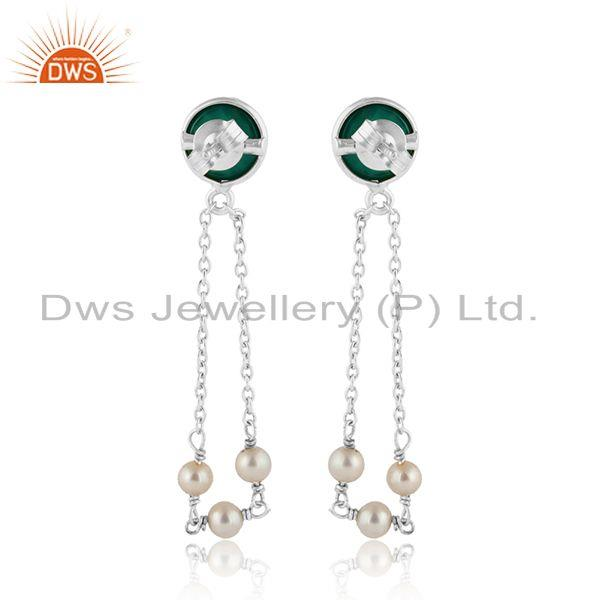 Designer of Fine silver natural pearl and green onyx gemstone chain earrings