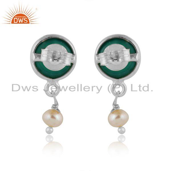 Designer of Pearl green onyx gemstone fine sterling silver drop earrings